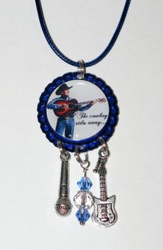 George Strait Blue Colored Bottle Cap Necklace by DixonsJewelry, $7.99