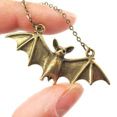 3D Realistic Bat With Spread Wings Animal Shaped Pendant Necklace in Brass $12.50 #bats #animals #jewelry #pendants #cute