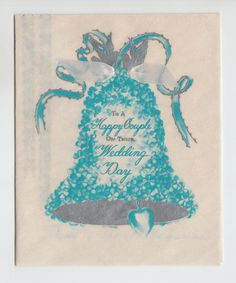 Vintage Bell Ribbon Heart Flowers Wedding Congratulations Greeting Card | eBay