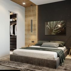 87 apartment for young lady on Behance Modern Bedroom Design, Master Bedroom Design, Home Decor Bedroom, Studio Apartment Layout, Round Beds, Master Room, Contemporary Apartment, Luxurious Bedrooms, Luxury Living