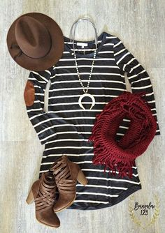 You will love the ease of this dress in Charcoal and Off-White stripes. Faux Suede elbow patches dress up the look. Shown with the Multi/Ivory Double Horn Necklace, Lattice Infinity Scarf in Red, and