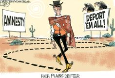 Mitt's Line on Immigration  This Pat Bagley editorial cartoon appears in The Salt Lake Tribune on Friday, June 22, 2012.