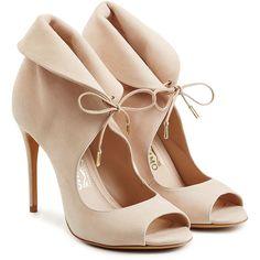 Salvatore Ferragamo Zoe Suede Pumps ($890) ❤ liked on Polyvore featuring shoes, pumps, beige, beige pumps, heels stilettos, lace up pumps, beige suede pumps and suede shoes