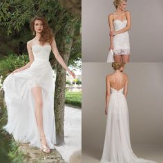 Unique Detachable Skirt Chiffon Beach A Line Wedding Dresses Lace Bridal Mini Dress Strapless Neckline Bodice Low Back Bridal Gowns ZC0212 Online with $123.57/Piece on Sarabridal's Store   DHgate.com