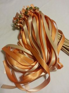 150 Wedding Ribbon Bell Wands ~ pick colors ~ Blush & Orange Cream #DivinityBraid