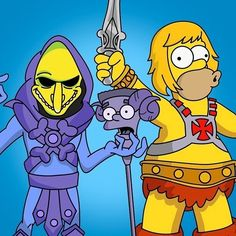 MOTU Simpson's mash up Simpson Tv, Universe Movie, 80 Cartoons, Best Cartoons Ever, Futurama, Legend Of Zelda, Simpsons Art, Nerd Humor, Memes
