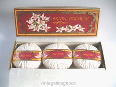 ROGER & GALLET Orchidee Soaps, 3 x150g, boxed, vintage French toiletries, by VintageImageBox