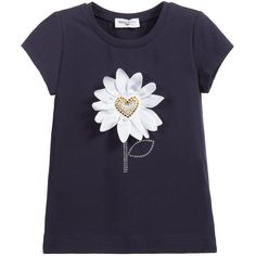 Girls navy blue, short-sleeved t-shirt by Monnalisa with a pretty, silky daisy appliqué embellished with gold and silver diamanté. A lovely addition to your little girls wardrobe.<br /> <ul> <li>95% cotton, 5% elastane (soft jersey feel)</li> <li>Machine wash (30*C)</li> <li>True to size fitting</li> </ul>