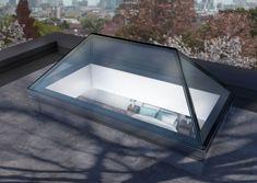Fixed Elongated Pyramid Rooflight Modern Skylights, Roof Balcony, Borrowed Light, Roof Lantern, Lantern Lighting, Roof Light, Glass Roof, House Extensions, Glass
