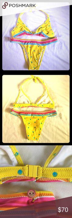 🌺SALE🌺Brazilian Salinas yellow polka dot bikini EUC famous Brazilian bikini brand Salinas itsy bitsy yellow polka dot bikini with colorful rainbow trim. Bikini has the 'Brazilian' coverage on the bum, so less coverage than normal! Worn on one trip to Costa Rica, then carefully stored. Salinas Swim Bikinis