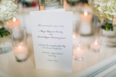 Delicate wedding program by Southern Fried Paper. Photo by Jess Barfield Photography. #wedding #calligraphy #white