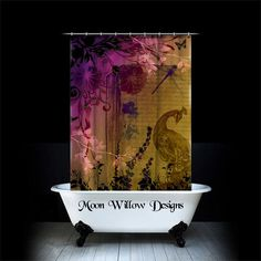 "Fabric Shower Curtain ""Peacock and Books"" Vintage Style Shower Curtain  by Moon Willow Designs on Etsy, $89.99"