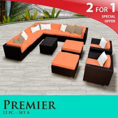 "Premier Outdoor Wicker 12 Piece Patio Set Tangerine Covers -12A by TK Classics. $2534.00. Versatile design for ANY patio size. 4"" Welted cushions for a luxurious look and feel. Affordable and comfortable Modular Furniture allows for endless arrangement possibilities. ""No Sag"" solid wicker bottoms with extra flexible strapping providing long-lasting suspension. Fully Assembled - ready to relax and enjoy. 2 for 1 Special: Purchase 1 of our Classic Patio Sets and receive a ..."