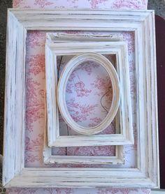 Four Wood Frames White Cream Distressed Worn Chippy by VinLizzy