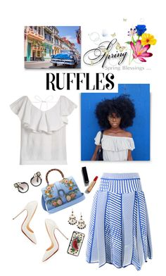 """""""Add Some Flair: Ruffled Tops"""" by shortyluv718 ❤ liked on Polyvore featuring CECILIE Copenhagen, Issey Miyake, Kate Spade, Gucci, Miu Miu, Chanel, Dolce&Gabbana and ruffledtops"""