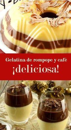 Esta gelatina junta a dos sabores celestiales en un solo vasito. ¡Disfruta esta deliciosa combinación! Mexican Jello Recipe, Jello Recipes, Mexican Snacks, Mexican Food Recipes, Sweet Recipes, Köstliche Desserts, Delicious Desserts, Dessert Recipes, Dessert Food