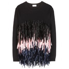 Dries Van Noten - Fringe-embellished sweater - An unforgettable design from the SS15 runway, remade in a fresh colourway, Dries Van Noten's fringe-embellished sweater is set to be a street-style hit. Make like the models and wear yours with loose-fitting trousers. seen @ www.mytheresa.com