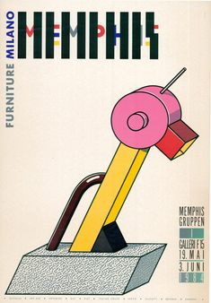 1984 Memphis Furniture poster (Tahiti Lamp, designed by Ettore Sottsass)