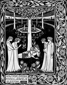 Aubrey Vincent Beardsley. How Four Queens found Launcelot Sleeping, for Le Morte Darthur.
