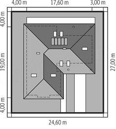 Usytuowanie projektu Alan IV multi-comfort na działce Bar Chart, Floor Plans, Arquitetura, Bar Graphs, Floor Plan Drawing, House Floor Plans