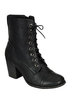 LACE UP THICK HEEL BOOTIES- Black