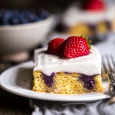 #Paleo Berry Coconut Poke Cake - Fresh berries explode in every bite! A healthy #glutenfree #grainfree #dairyfree #sugarfree dessert for July 4th!