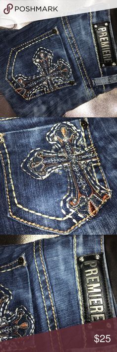 Name brand premiere jeans stone wash bling pockets New never worn size 3/4 Jeans Straight Leg
