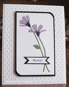card by Carol Longacre.... a cool TECHNIQUE - Embedded Die Cut Card ... the negative space in white cardstock has been filled with same die cut pieces from purple and green cardstock (with some added stickles bling at base of flowers!)