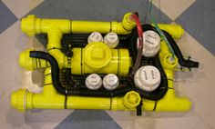 Jason Rollette's remotely-operated submarine packs four and two bilge pumps, with the bigger ones used for propulsion. Check out his incredibly detailed tutorial for instructions on. Robotics Projects, Pvc Projects, Arduino Projects, Bateau Rc, Underwater Drone, Rc Drone With Camera, Electronic Workbench, Raspberry Pi Projects, Robot Design