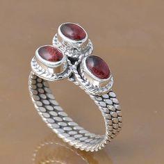 SOLID 925 STERLING SILVER GARNET RING 5.40g DJR7303 SZ-8.5 #Handmade #Ring