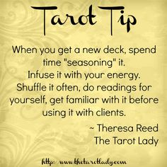 "Tarot Tip when you get a new deck spend time ""seasoning"" it. Infuse it with your energy before using it with clients. Tarot Tips. Types Of Reading, Tarot Cards For Beginners, Tarot Card Spreads, Oracle Tarot, Tarot Card Meanings, Tarot Readers, Card Reading, Tarot Decks, Learn To Read"
