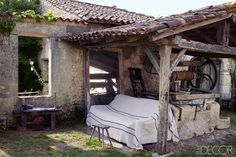 Mathilde Labrouche Home in Southwestern France - Century French Farmhouse Mercury Glass Mirror, Kitchen Sofa, Old Garage, Terracota, Outdoor Living, Outdoor Decor, Outdoor Spaces, Outdoor Sofa, French Farmhouse