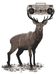"""Deer with a radio"" illustration by Chris Thornley"