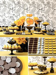 Wedding dessert tables and images by Amy Atlas Events, black, white and yellow graphic modern desserts