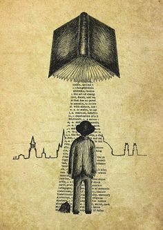 Take Me To Your Reader- art print by Jon Turner- surreal literary pen and ink artwork I Love Books, Good Books, Books To Read, My Books, Photo Facebook, World Of Books, Illustration, Bibliophile, Graphic
