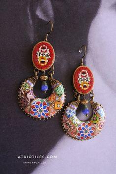 Portugal Antique Azulejo Tile Replica Earrings w Vintage Italian Micro Mosaic - Red Valentine's Day Bohemian Persian Boho Chandelier  OOAK