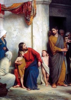 Carl Heinrich Bloch - Suffer the Children   Bloch was a Danish painter. He was then commissioned to produce 23 paintings for the Chapel at Frederiksborg Palace. These were all scenes from the life of Christ which have become very popular as illustrations. The originals, painted between 1865 and 1879, are still at Frederiksborg Palace.