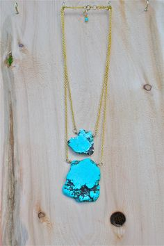 Double Reconstituted Turquoise Stone Necklace inspired by Double House of Harlow Necklace