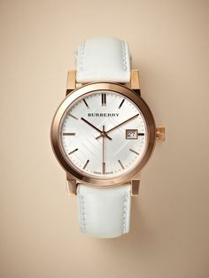 NEED THIS!!! Burberry Women's City Rose Gold & White Leather Watch
