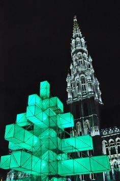 Scaffold tree and Hôtel de Ville - Brussels, Belgium