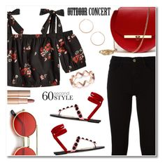 """60 Second Style"" by rasa-j ❤ liked on Polyvore featuring Angela Valentine Handbags, Frame, Attico, Jennifer Zeuner, Charlotte Tilbury, 60secondstyle and outdoorconcerts"