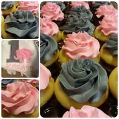 1st Birthday Theme: pink and gray frosting for cupcakes