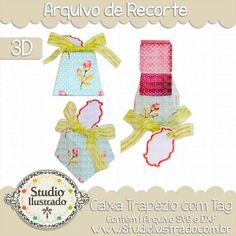 Trapeze Box with Tag, Caixa Trapézio com Tag, Fita, Ribbon, Shabby Chic Paper, Cute, Fluffy, Presente, Gift, 3D, Caixinha, Boxes, Silhouette, DXF, SVG, PNG