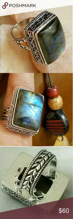 """""""TOP QUALITY"""" - BLUE FIRE LABRADORITE RING 1"""" Blue Fire Labradorite Ring (Size 8) in a Vintage Style Design """"Stamped 925"""" Sterling Silver Jewelry Rings"""