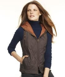 L.L.Bean Signature Hooded Quilted Vest in Black Coffee