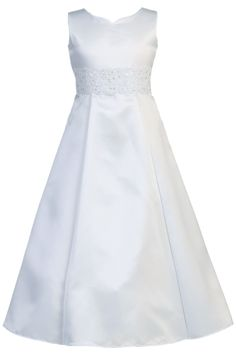 Satin & Lace White A-Line First Holy Communion Dress ( Girls Sizes 7 to 14 - 8x to 12x )