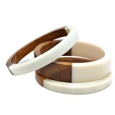 White Resin & Wood Bangles Cuff Set of 3 by wrapsbyrenzel on Etsy, $34.95