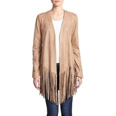 SW3 Faux-Leather Open-Front Fringe Jacket ($310) ❤ liked on Polyvore featuring outerwear, jackets, apparel & accessories, caramel, open front jacket, synthetic leather jacket, faux leather jacket, fake leather jacket and red jacket