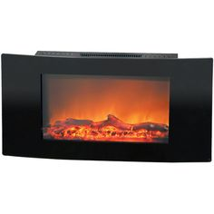Cambridge Callisto 35 In. Wall-Mount Electronic Fireplace with Curved Panel and Realistic Logs, Black