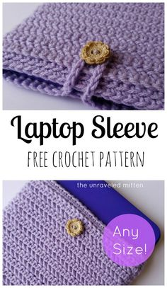 crochet bags pattern Crochet this Laptop Sleeve in Any SIze! - Protect your laptop on the go with this herringbone crochet laptop sleeve! Don't be, this easy free pattern can be customized to any size Crochet Laptop Sleeve, Crochet Laptop Case, Crochet Case, Crochet Shell Stitch, Crochet Diy, Crochet Purses, Crochet Gifts, Crochet Stitches, Unique Crochet